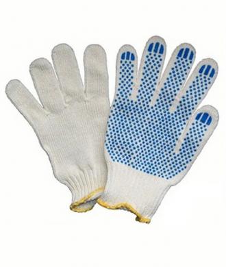 Рабочие перчатки х/б с ПВХ напылением (белые)