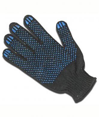 Рабочие перчатки х/б с ПВХ напылением (черные)